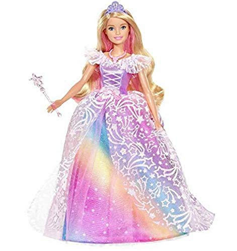 Barbie-GFR45 Barbie Dreamtopia Puppe TraumPrinzessin mit Kleid glänzend, Regenbogenmotiv, inklusive...
