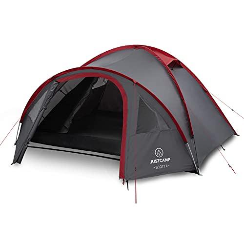 Justcamp Scott 4 Camping Zelt 4 Personen, Iglu Zelt mit Vorraum, Schlafkabine - grau