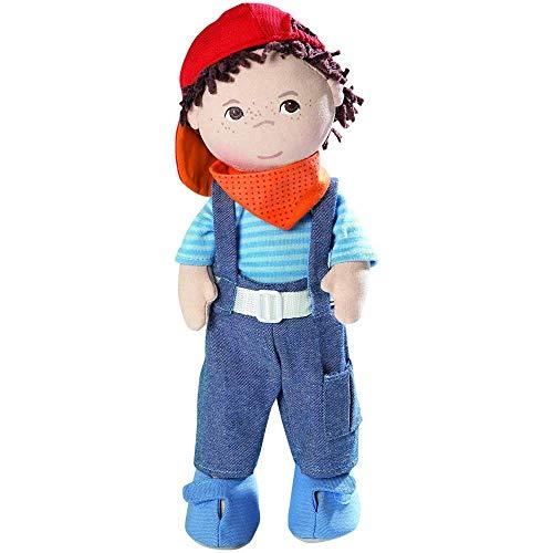 Haba 2142 - Puppe Matze weiche Stoffpuppe, ab 18 Monaten, cooler Junge zum Spielen und Kuscheln, mit...