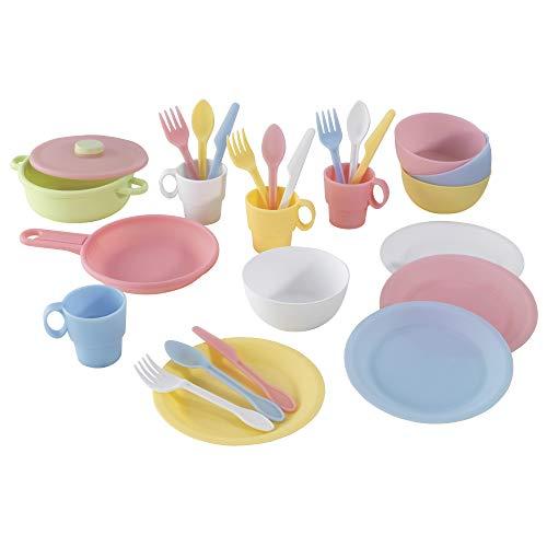 KidKraft 63027 27-teiliges Küchen-Spielset Spielzeug-Geschirrset, Pastellfarben