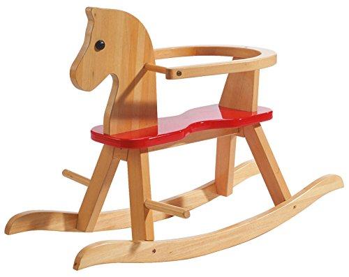 roba Schaukelpferd, Schaukeltier Massivholz natur rot, Schaukelstuhl mitwachsend für Babys und...