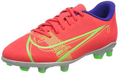 Nike Jr Vapor 14 Club FG/MG Football Shoe, Bright Crimson/Metallic Silver-Indigo Burst-White-Rage Green,...