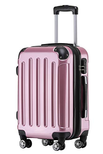 BEIBYE Zwillingsrollen 2048 Hartschale Trolley Koffer Reisekoffer Taschen Gepäck in M-L-XL-Set (Rosa, M)