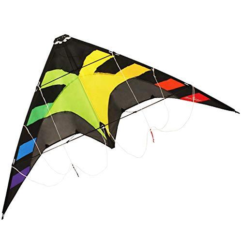 CIM Lenkdrachen - Spider Rainbow - für Kinder ab 8 Jahren - Abmessung: 145x78cm - inkl. Steuerleinen mit...