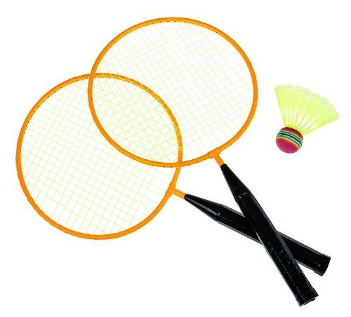 Idena 7408408 - Badminton Set Junior mit 2 Schlägern und einem Ball, Sportpiel für Kinder und...