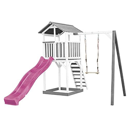 AXI Beach Tower Spielturm aus Holz in Weiß & Grau | Spielhaus für Kinder mit lila Rutsche, Schaukel und...