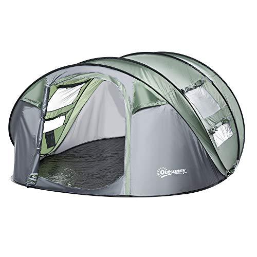 Outsunny Zelt für 4-5 Personen Campingzelt mit Heringen Kuppelzelt Polyester B3 Gitter Glasfaser...
