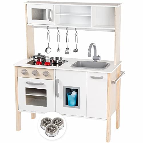 Kinderplay Kinderküche Große Holzküche für Kinder - mit Küchenzubehör, Spielküche mit Licht und...
