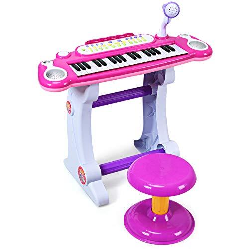 COSTWAY 37 Tasten Klaviertastatur mit Hocker, Kinder Keyboard mit Ständer, Klavier Spielzeug...