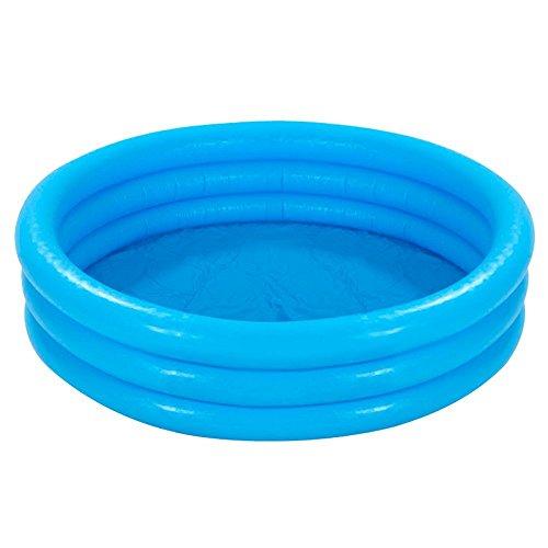 com-four® Planschbecken für Kinder, 3-Ring Kinderpool in blau mit Reparaturflicken, 114x25cm, ca. 132...