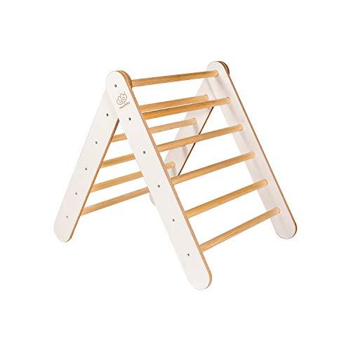 MEOWBABY Kletterdreieck 70x80cm Klettergerüst aus Holz für Kinder Sprossendreieck Made in EU Weiß