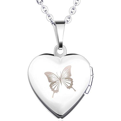 Yumilok Edelstahl Schmetterling Foto Medaillon zum Öffnen Photo Bilder Amulett Silberfarben Rosa...