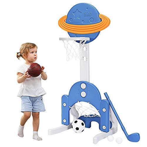 COSTWAY 3 in 1 Kinder Spielplatz, höhenverstellbarer Basketballkorb & Fußballtor & Golf,...