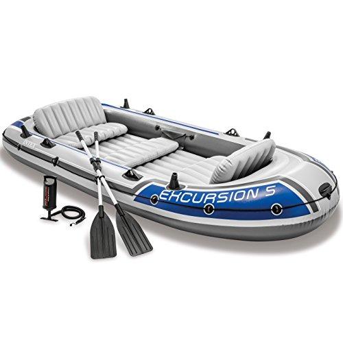 Intex 68325EP Excursion aufblasbares 5-Personen-Angelboot Floß-Set mit 2 Aluminiumrudern und...