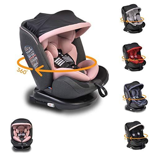Cangaroo Kindersitz Pilot 0-36 kg Gruppe 0+/1/2/3, Isofix, drehbar, 165° Neigung, Farbe:rosa