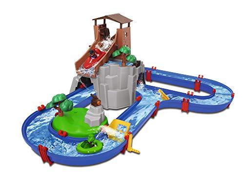 AquaPlay - AdventureLand - Wasserbahn mit Berg, Turm und Stausee, Spieleset inkl. 2 Tierfiguren,...