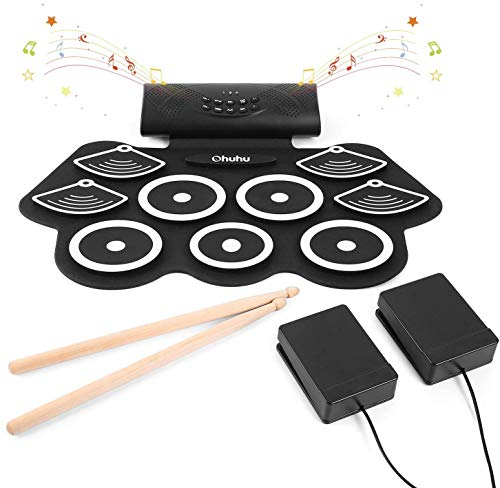 Elektronisches Schlagzeug Drum Set, Ohuhu 9 Pads Tragbare Roll Up Midi Tabletop Drum Schlagzeug Set mit...