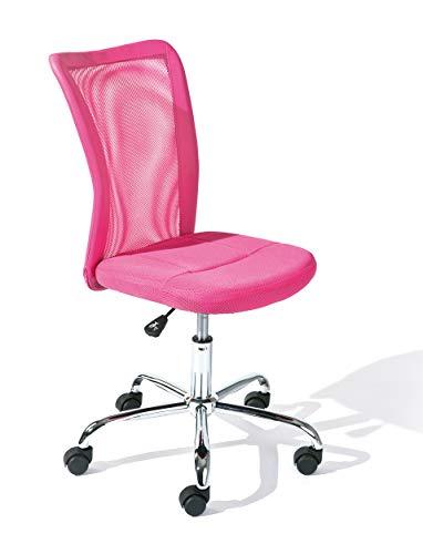Inter Link Kinderdrehstuhl Bürostuhl Jugenddrehstuhl Schreibtischstuhl Drehstuhl Metall Bezug Mesh Pink...