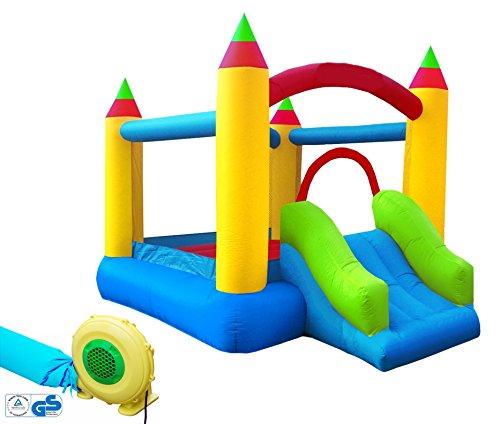 Hüpfburg XXL Kinder Indoor Outdoor mit Rutsche und Gebläse Jump House Komplett-Set aufblasbar Spielhaus...
