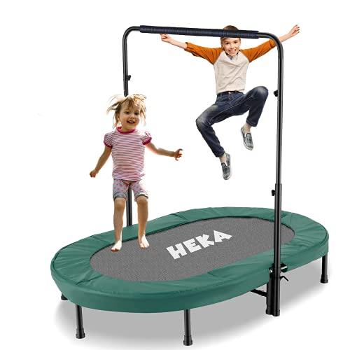 HEKA Trampolin für 2 Kinder,Kleines Kindertrampolin mit Verstellbarem Haltegriff,Mini Faltbares Fitness...