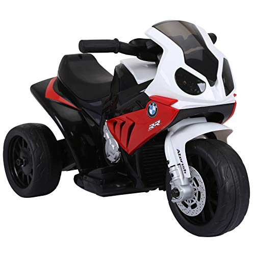 HOMCOM Elektro Kindermotorrad Kinderfahrzeug Elektro-Dreirad mit Akku Rot PP + Stahl 66 x 37 x 44 cm