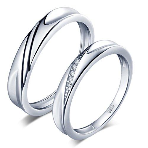 Unendlich U Simpel Welle 925 Sterling Silber Zirkonia Paar Band Ringe Eheringe Trauringe Verlobungsringe...