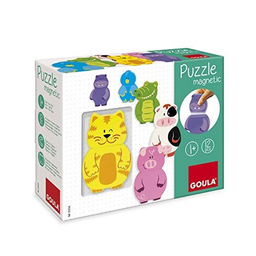 Goula D55234 Magnetisches Holzpuzzle Tiere, 12teilig Holzspielzeug für Kleinkinder, Ab 1 Jahr