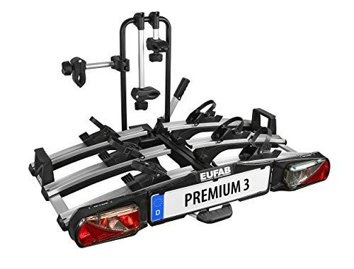Eufab 11522 Heckträger 'Premium III' für Anhängekupplung klappbar 3 Fahrräder, für E-Bikes geeignet