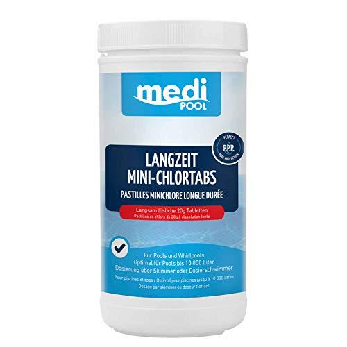 mediPOOL Langzeit-Minichlor Tabs 20 g, Chlortabletten, Chlorlangzeittabletten, Poolreinigung, Inhalt:1 kg