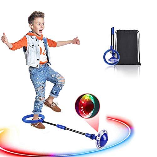 Swing Wheel mit Lichtrad, Kinder Blinkender Springring Fußkreisel, Faltbare Glühender Springender Ball,...