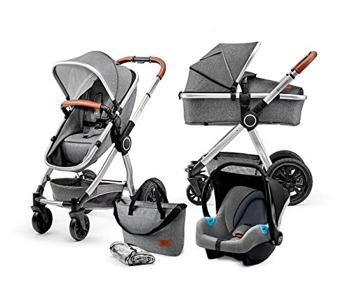 Kinderkraft Kinderwagen 3 in 1 VEO, Kinderwagenset, Kombikinderwagen, Buggy, Autositz, Zubehör, Travel...