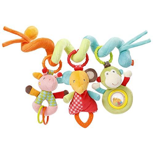 Fehn 074451 Activity-Spirale Safari – Stoff-Spirale zum Greifen und Fühlen für Bett, Kinderwagen,...