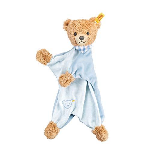 Steiff Schlaf Gut Bär Schmusetuch - 30 cm - Kuscheltuch Teddybär - Schmusetier für Babys - beige/blau...