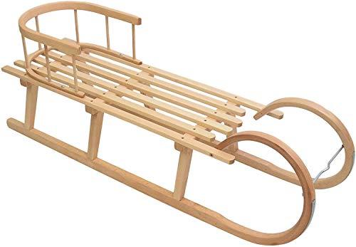 Best For Kids Hörnerrodel 120 cm mit Rückenlehne + Zugleine Rodelschlitten Davoser aus Holz bis 200 kg...