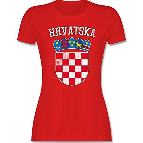 Fussball EM 2021 Fanartikel - Kroatien Wappen EM - M - Rot - Kroatien Tshirt Damen - L191 - Tailliertes...