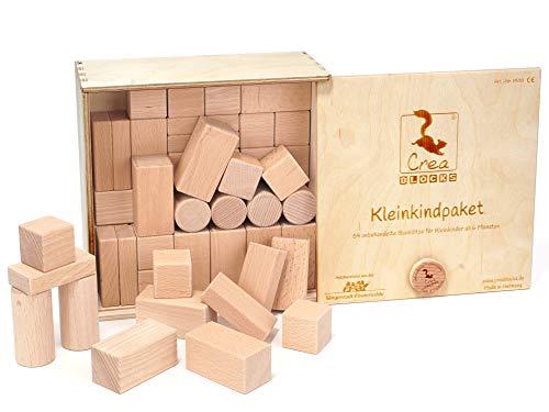 CreaBLOCKS Holzbausteine Kleinkindpaket 54 unbehandelte Bauklötze für Kleinkinder ab 6 Monaten (in der...