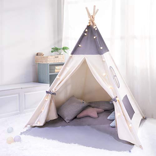 besrey Kinderzelt Spielzelt Tipi Zelt für Kinder aus 100% Baumwolle + 6m Deko Lichterkette und graue...