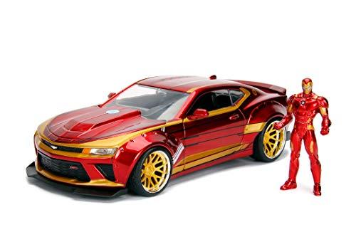 Jada Toys Marvel Iron Man 2016 Chevy Camaro SS, 1:24 Modellauto inkl. Iron Man Figur, aus Zinkdruckguss,...