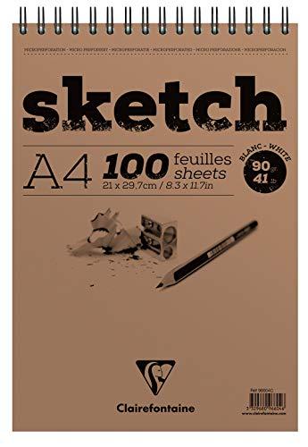 Clairefontaine 96604C Skizzenblock mit Doppelspirale Sketch-Papier, Din A4, 21 x 29.79 cm, 100 Blatt, 90...