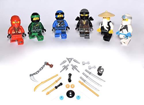 Lego Ninjago Figuren Alle 5 Ninja und Meister Wu ( Grüner Ninja Blauer Ninja Schwarzer Ninja Weisser...