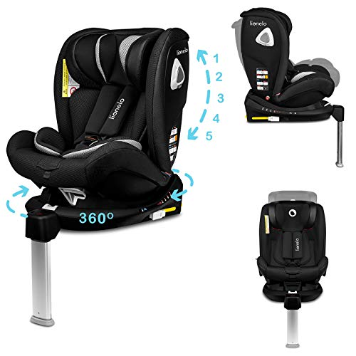Lionelo Braam Kindersitz Isofix und Stützfuß oder Autogurte Kindersitz Auto 0-36 kg Rückwärts und...