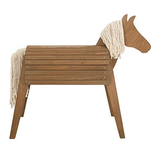 roba Outdoorspielpferd, Massivholz teak-farben, Voltigierpferd sehr stabil, Gartenpferd mit Mähne und...