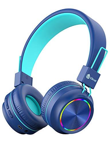 iClever Bluetooth Kinder Kopfhörer, Bunte Lichter LED, 85dB Lautstärkebegrenzung, Faltbare,...