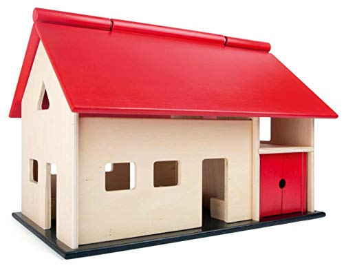 small foot 8502 Großer, Holz, mit aufklappbarem Dach und Schwingtoren, Bauernhof-Spaß für Mädchen &...