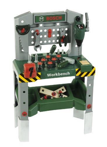 Theo Klein 8637 Bosch Werkbank 48-teilig I Höhenverstellbare Füße, I Arbeitsplatte mit vielen...