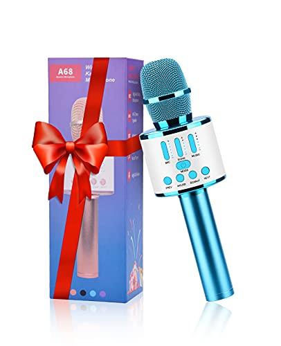 FISHOAKY Karaoke Mikrofon Kinder, 5 in 1 Upgraded Mikrofon Karaoke Bluetooth Erwachsene, Tragbarer...