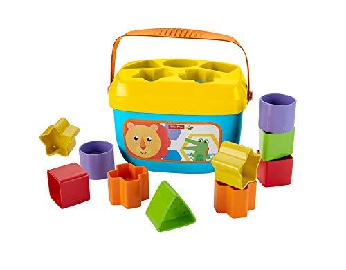 Fisher-Price FFC84 - Babys Erste Bausteine Baby Spielzeug Formensortierspiel mit Spielwürfeln und Eimer...