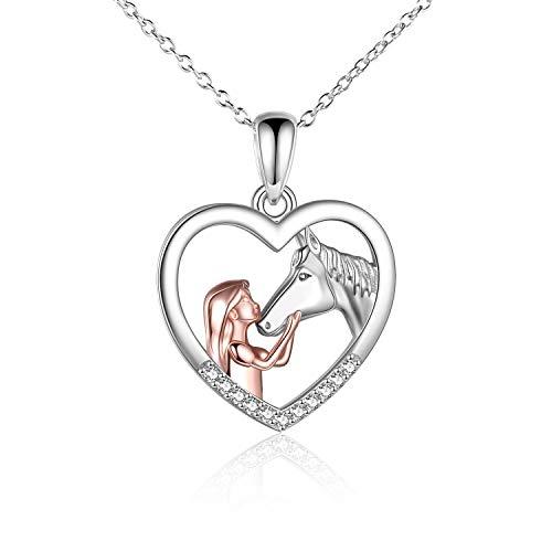 YFN Mädchen und Pferd Halskette für Mädchen Sterling Silber Pferdeschmuck Pferd Geschenke für Frauen...