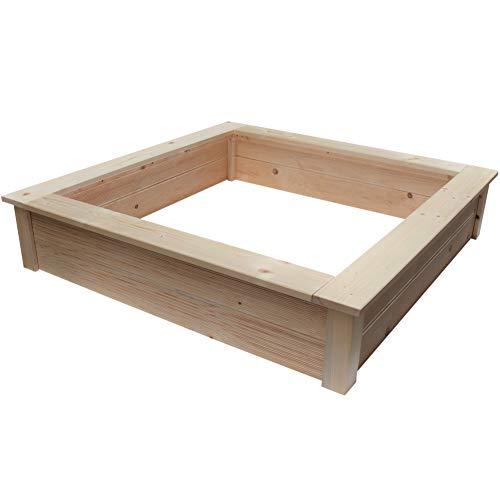 Clamaro 'Beach' Holz Sandkasten 150 x 150 cm extra stabil aus Fichte Massivholz Bohlen (28mm stark,...