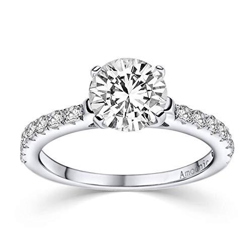 Verlobungsring Ring Damen Silber 925 von AMOONIC Zirkonia Stein mit GRAVUR & ETUI-BOX Silberring Frau...